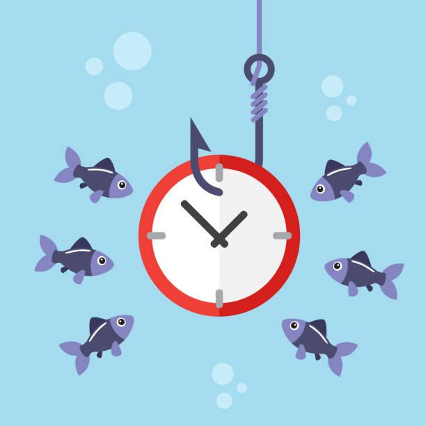 Reloj de gancho de pesca - ilustración de arte vectorial