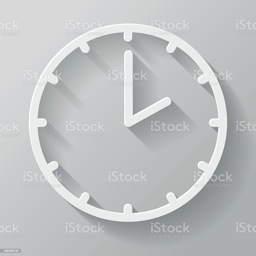 Clock Paper Thin Line Interface Icon With Long Shadow vector art illustration