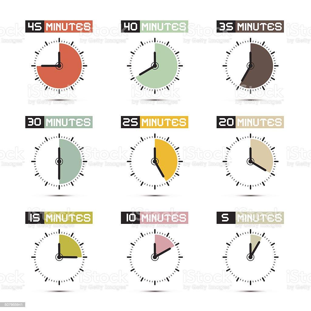 Clock Set vector art illustration