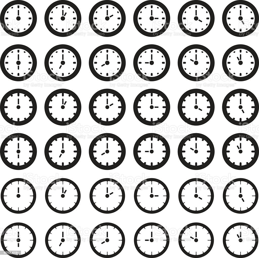 Clock showing every hour. Vector illustration. vector art illustration