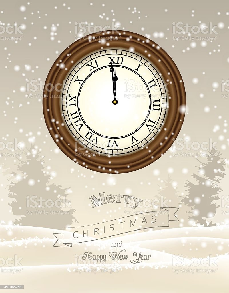 Clock Showing One Minute To Twelve New Year Greeting Card Stock