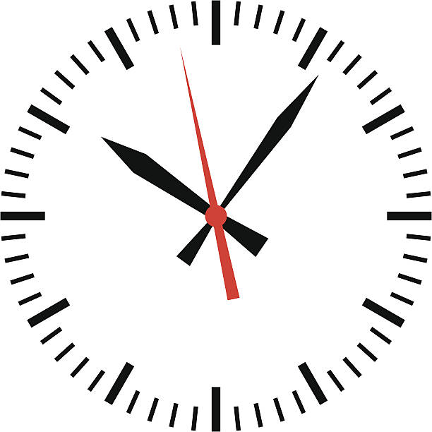 clock showing time - vector - clock face stock illustrations, clip art, cartoons, & icons