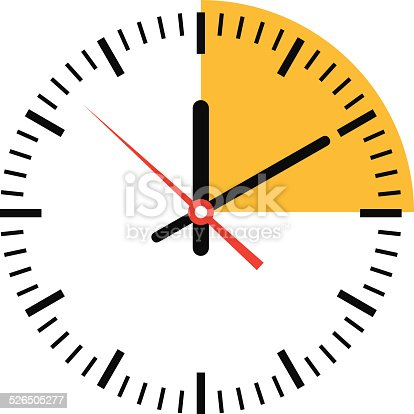 Clock showing time with a highlight section on white background.