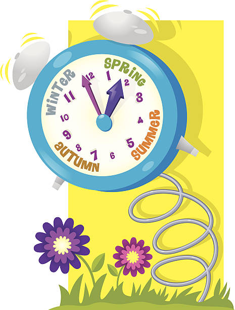 clock spring - daylight savings time stock illustrations, clip art, cartoons, & icons
