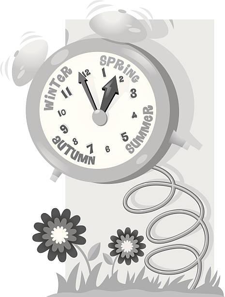 clock spring - spring forward stock illustrations, clip art, cartoons, & icons