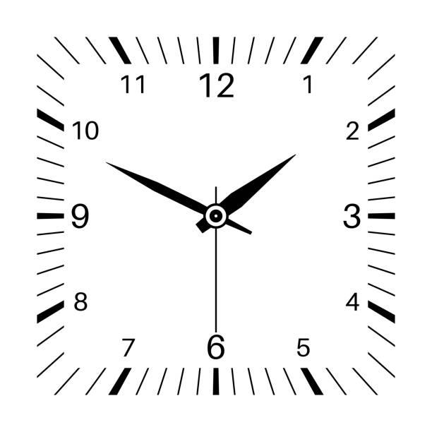 時鐘.方形鐘向量藝術插圖