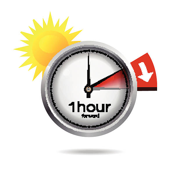 clock switch to summer time - daylight savings time stock illustrations, clip art, cartoons, & icons