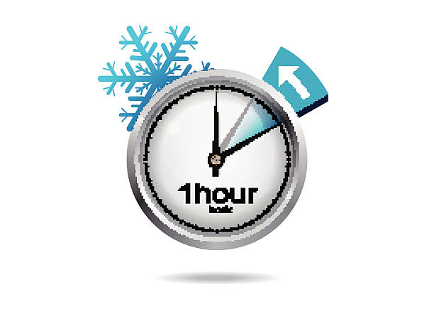 clock switch to winter time - daylight savings time stock illustrations, clip art, cartoons, & icons