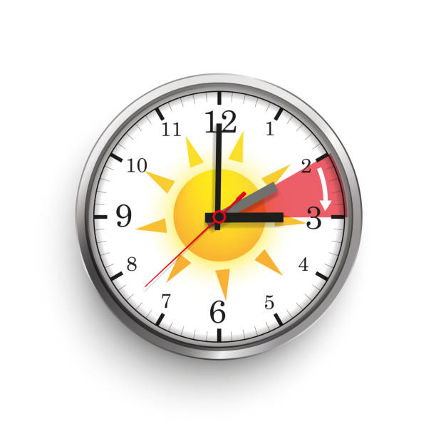 Clock Time Change Summer Time Sun A clock for a time change to a standard time hanging on the beech tree. Eps 10 vector file. daylight savings stock illustrations