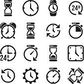 Clock, time, chronometer vector pictograms
