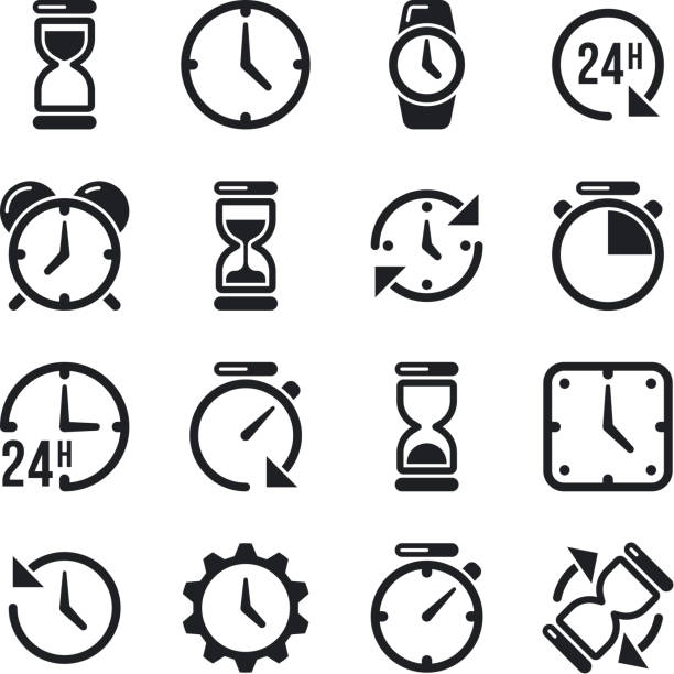 Clock, time, chronometer vector pictograms vector art illustration