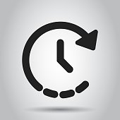 Clock time icon in flat style. Vector illustration. Business concept clock timer pictogram.
