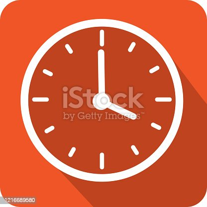 istock Clock time icon with hands in increments of one hour 1216689580
