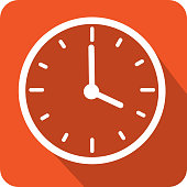 Vector illustration of a Clock face time icons with hands in increments of one hour. Colorful rounded corner icon. EPS 10.