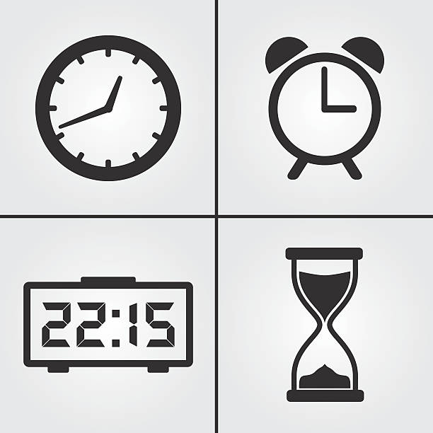 Clock Time Icons vector art illustration