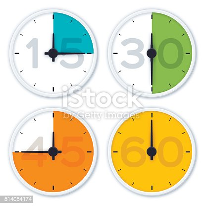 Colorful clock time symbols showing 15 minutes, 30 minutes, 45 minutes, and 60 minutes. EPS 10 file. Transparency effects used on highlight elements.
