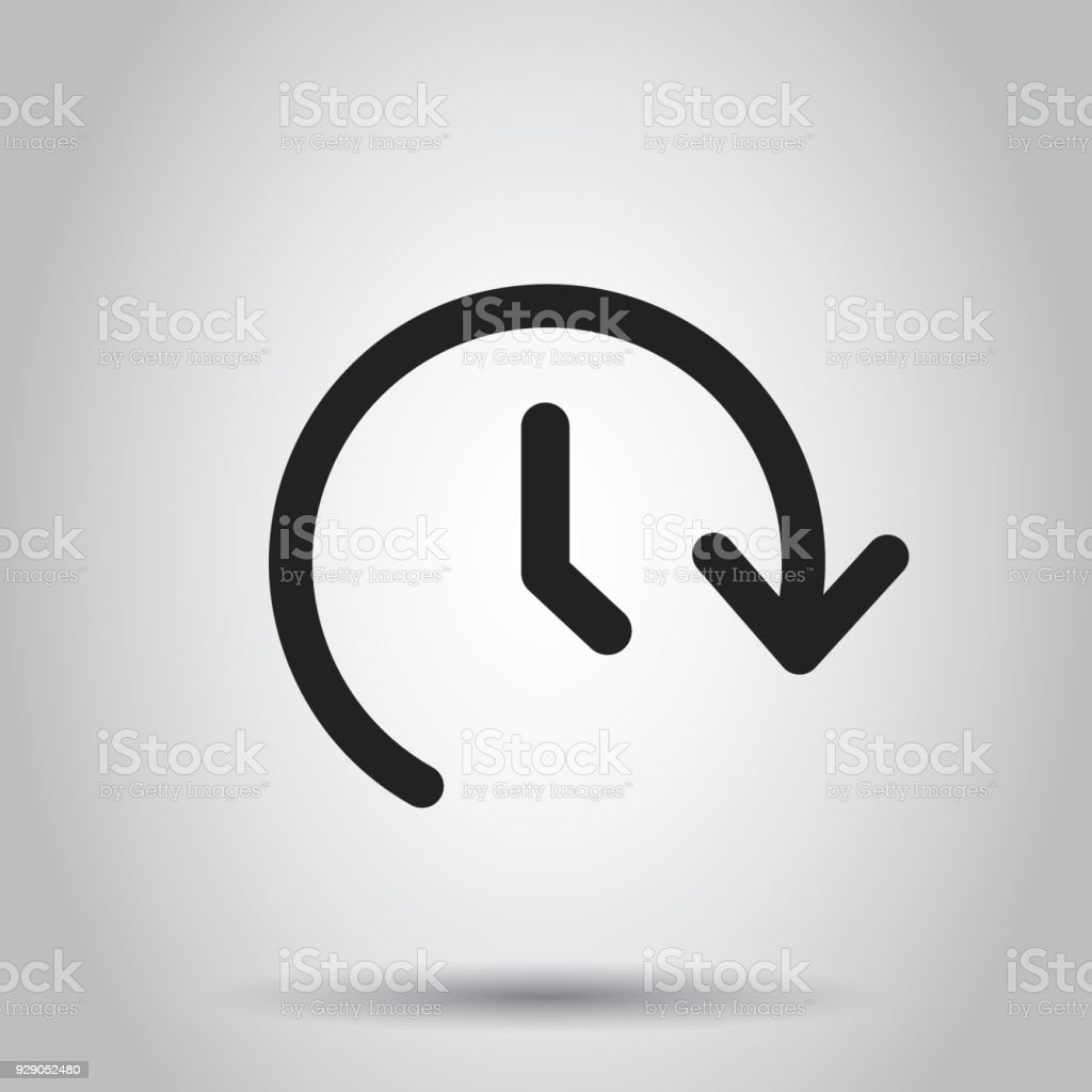 Clock time vector icon. Timer 24 hours sign illustration. Business concept simple flat pictogram on isolated background.