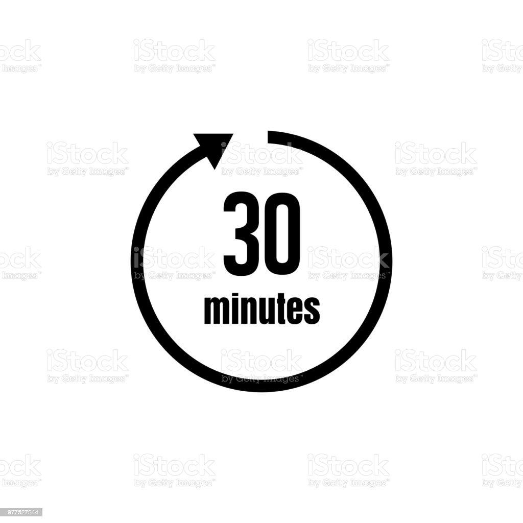 clock timer icon 30 minutes stock vector art more images. Black Bedroom Furniture Sets. Home Design Ideas