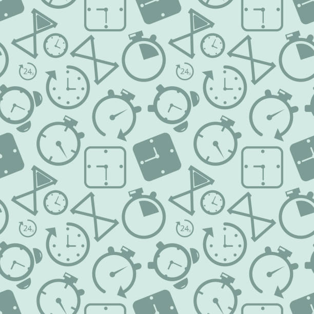 Clock timer icon seamless pattern background. Business concept vector illustration. Time alarm stopwatch clock symbol pattern. Clock timer icon seamless pattern background. Business concept vector illustration. Time alarm stopwatch clock symbol pattern. EPS samenwerking stock illustrations