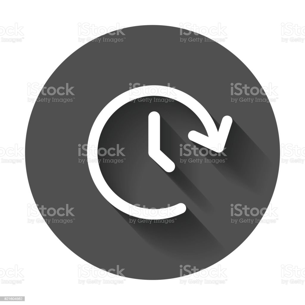 Clock tome vector icon. Timer 24 hours sign illustration on black round background with long shadow. vector art illustration