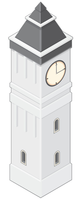 A vector illustration of an old style clock tower.