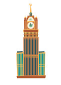 Clock tower vector illustration. Clock tower Saudi Arabia flat cartoon style icon isolated on white background