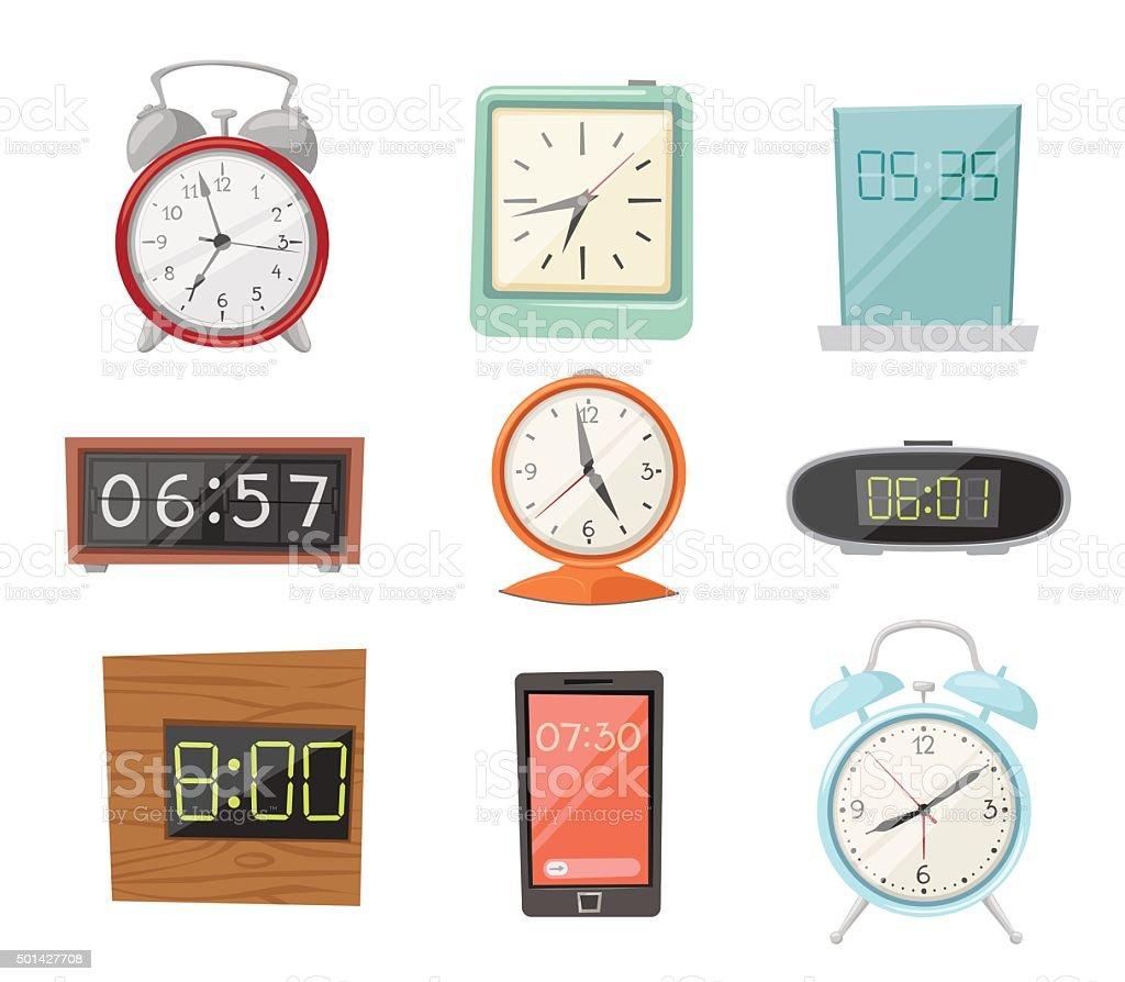 Clock watch alarms vector icons illustration vector art illustration