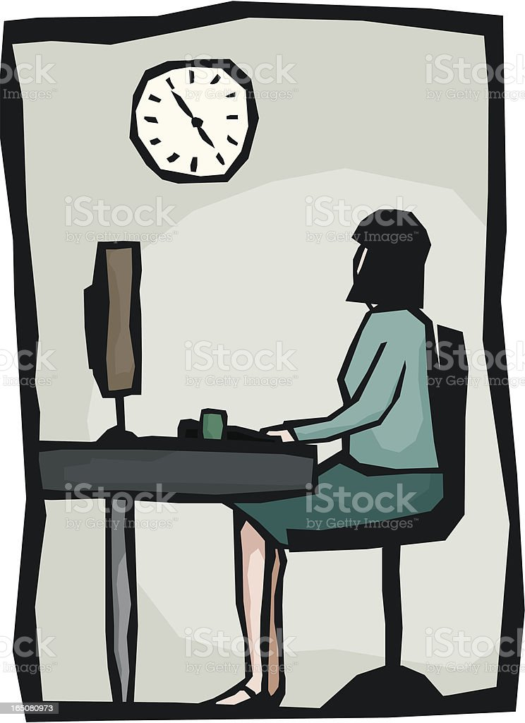 Clock Watching royalty-free stock vector art