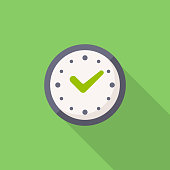 Clock with Checkmark Flat Icon.