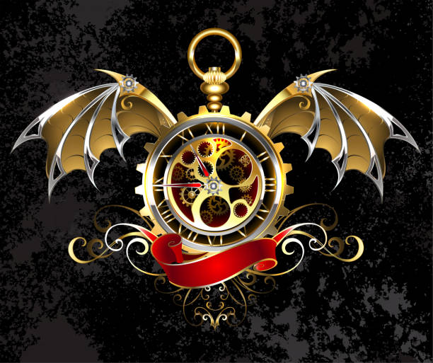 Clock with dragon wings vector art illustration