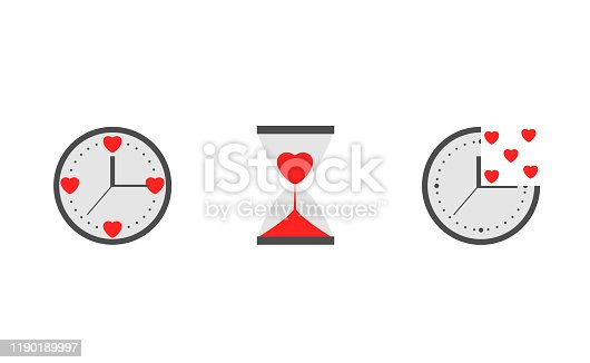 Clock with red heart sign. Time is love, Happy Valentine's day symbol