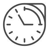 Clock with hour duration line icon, Medical concept, medication time schedule sign on white background, Medicine time prescription icon in outline style for mobile and web. Vector graphics