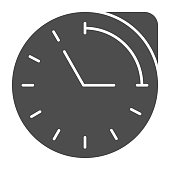 Clock with hour duration solid icon, Medical concept, medication time schedule sign on white background, Medicine time prescription icon in glyph style for mobile and web. Vector graphics