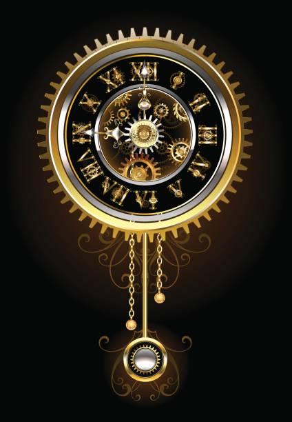 Clock with pendulum vector art illustration