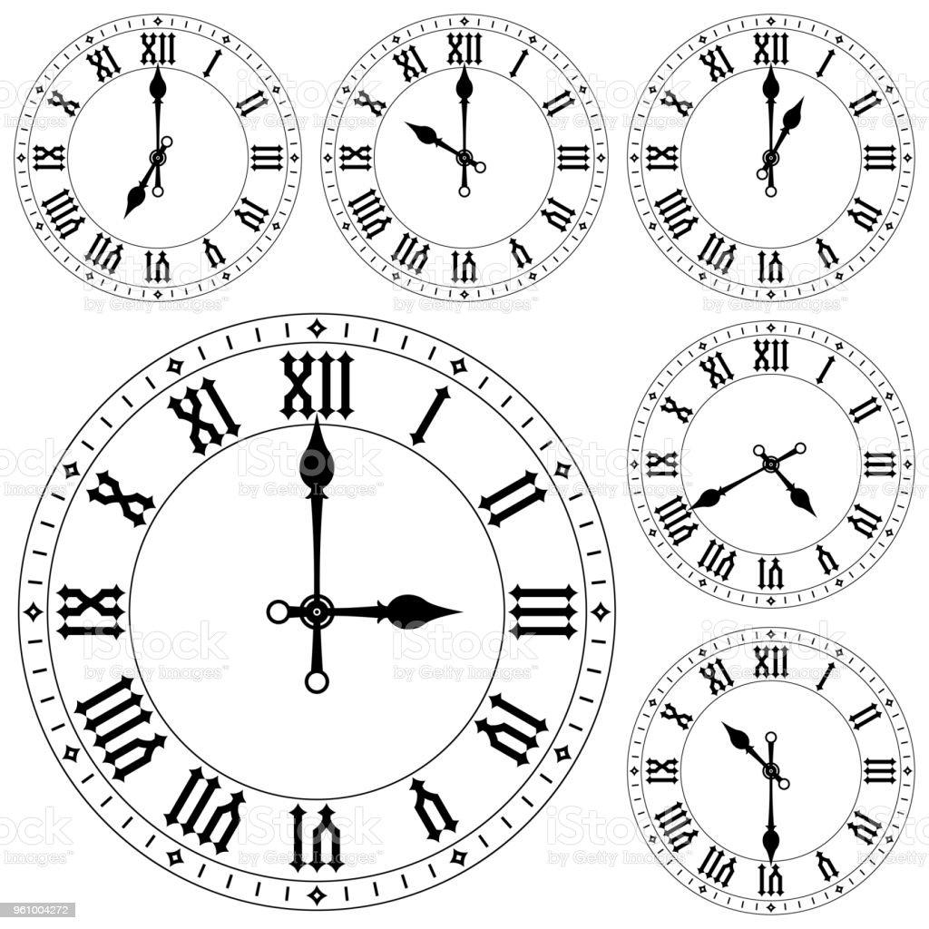 Ilustración de Reloj Con Números Romanos Conjunto y más banco de ...