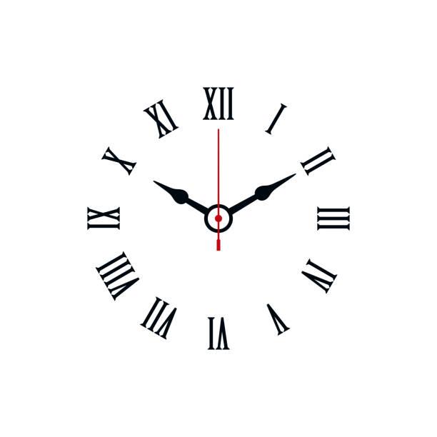 clock with roman numerals - clock face stock illustrations, clip art, cartoons, & icons