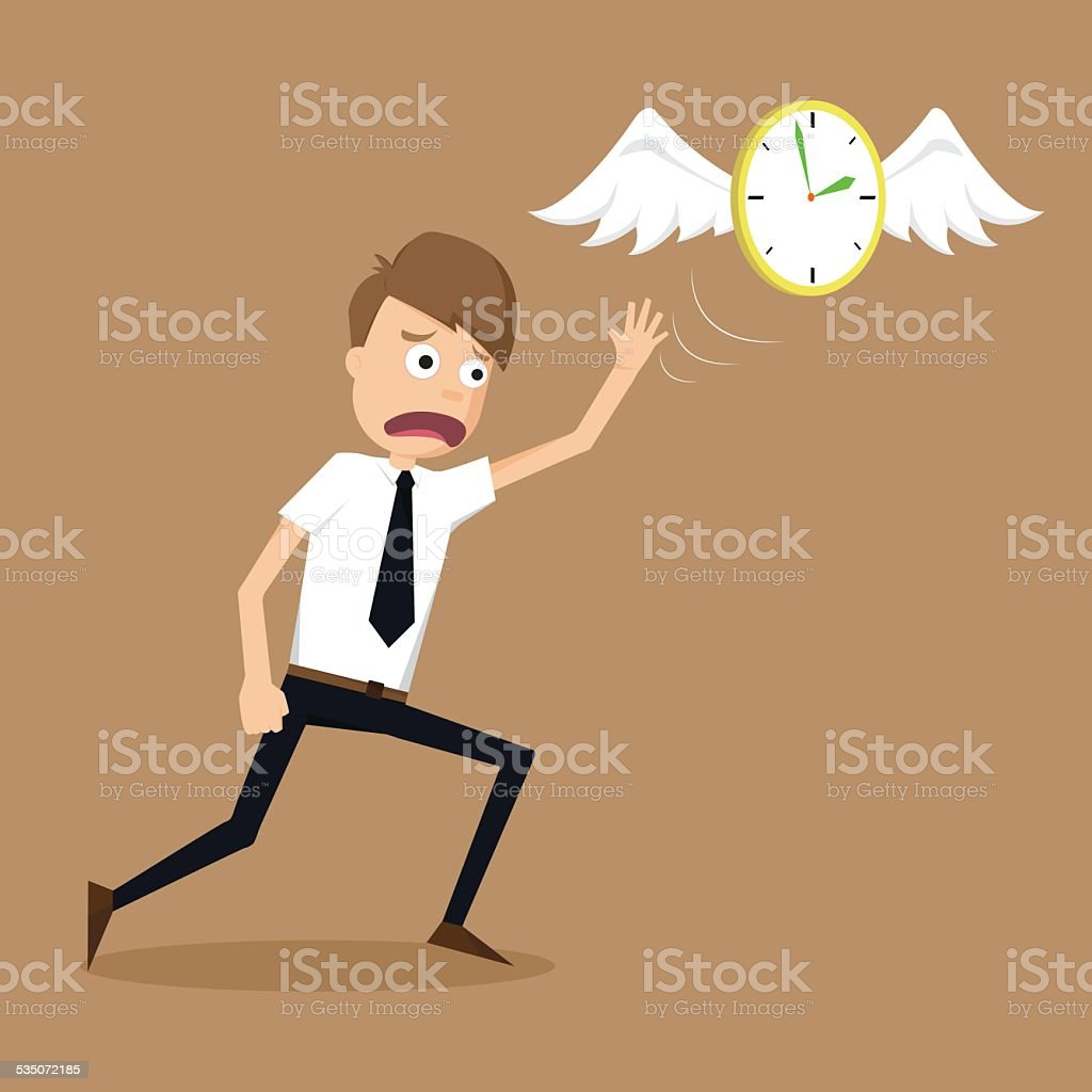 clock with wings fly escape away  from a businessman vector art illustration