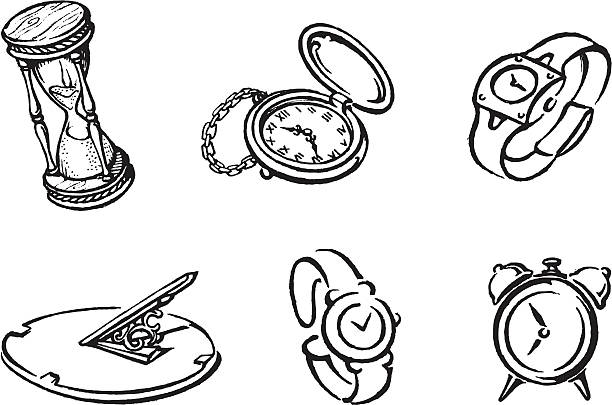 Clock Works Set vector art illustration