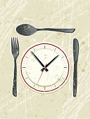 Fast Food! A stylized vector cartoon of a clock on a plate, reminiscent of an old screen print poster and suggesting fast food, diner time, lunch time, the passing of time, or time to eat. clock, cutlery, plate, paper texture, and background are on different layers for easy editing. Please note: clipping paths have been used, an eps version is included without the path.