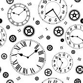 Clocks and gears vector seamless pattern.
