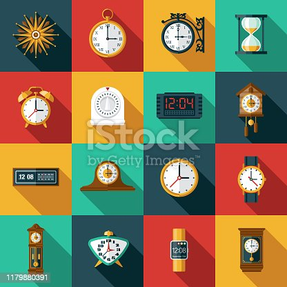 A set of clock and timer icons. File is built in the CMYK color space for optimal printing. Color swatches are global so it's easy to edit and change the colors.