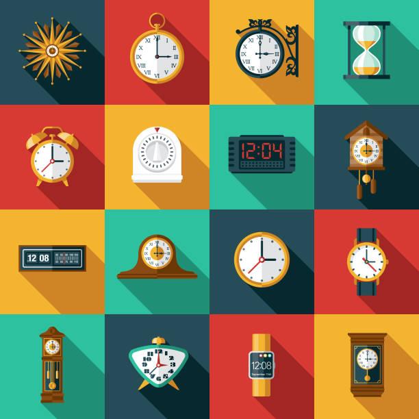 bildbanksillustrationer, clip art samt tecknat material och ikoner med ikonuppsättning för klockor och timer - alarm clock