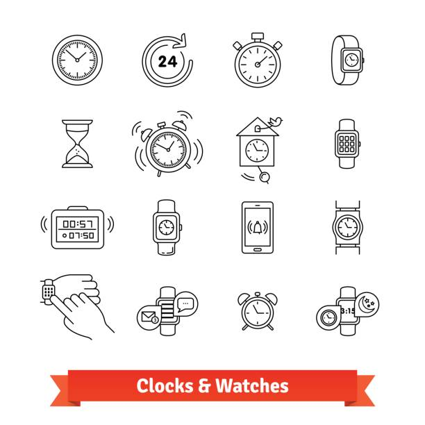 Clocks and Watches. Thin line art icons set vector art illustration