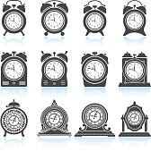 Clocks black & white royalty free vector icon set