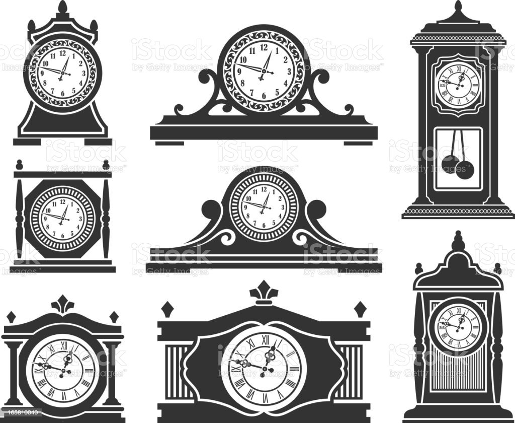 grandfather clock clipart black and white. clocks black u0026 white royalty free vector icon set art illustration grandfather clock clipart and