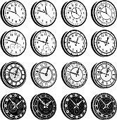 Clocks black & white royalty free vector icon set