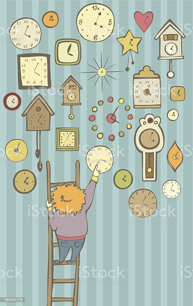 Clocks collector royalty-free stock vector art