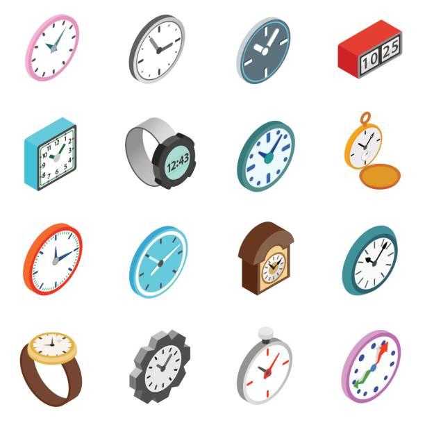 Uhren Icons Set, isometrischen 3d Stil – Vektorgrafik