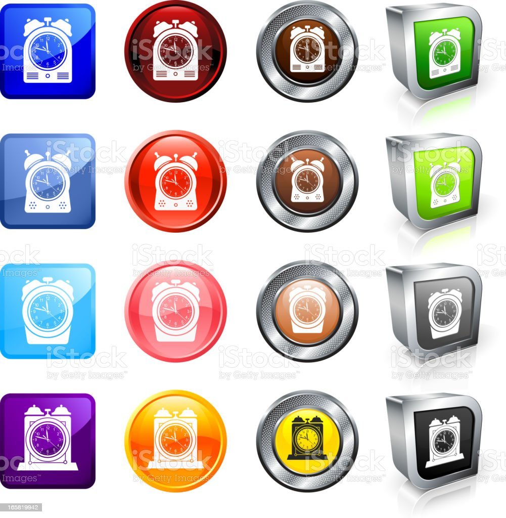 Clocks royalty free vector button set royalty-free stock vector art