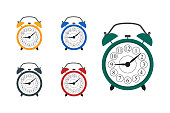 Clocks. Set of multicolor alarm clocks wake-up time. Isolated on white background. Vector illustration